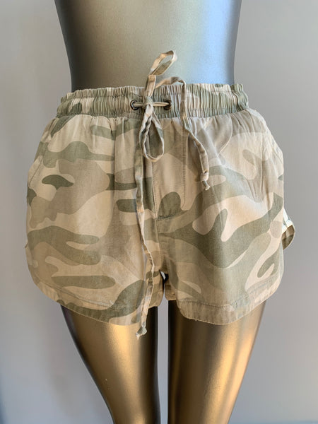 Camo Printed Washed Tencel Short