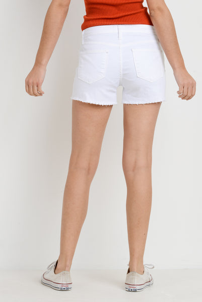 Snipped White Denim Shorts