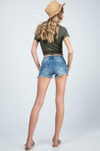 Distressed Shorts with Raw Fray Hem