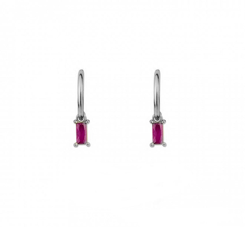 Mini Baguette Hoops Pink Zirconia