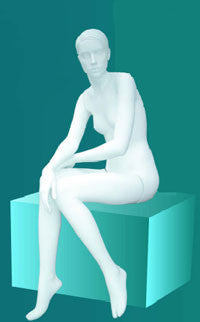 Female Mannequin White Sitting Style W/Out Column