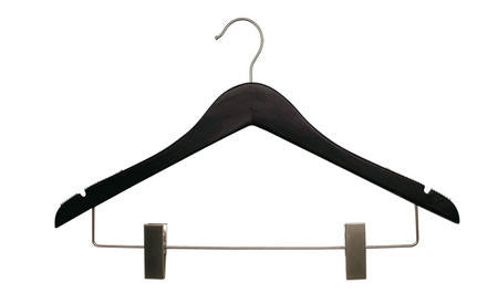 Flat Wood Suit Hanger w/ clips| Color| White