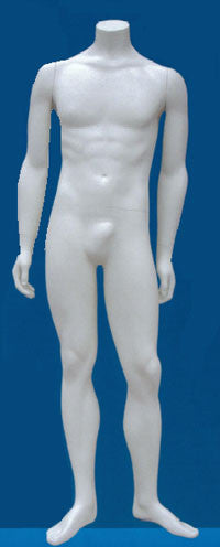 Headless Male Mannequin White W/Calf & Sole Fittings Pose #1