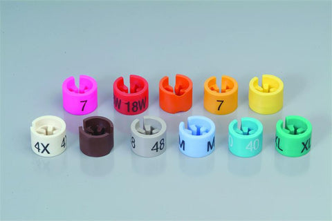 Mini Markers W/ Numbers & Letters - White W/Black Print Sizes 37 to 60