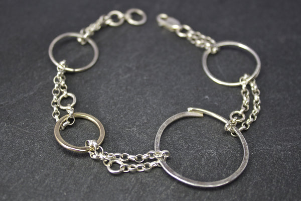 Bracelet with silver and gold circles