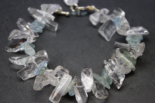 Bracelet with aquamarine and rock crystals