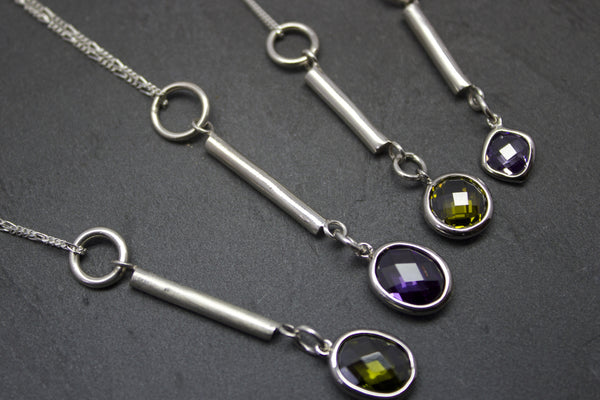 Pendant with silver bar and semi-precious stones