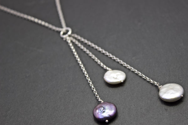 Pendant with three coin pearl drop