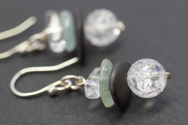 Earrings with crackled rock crystal and aquamarine