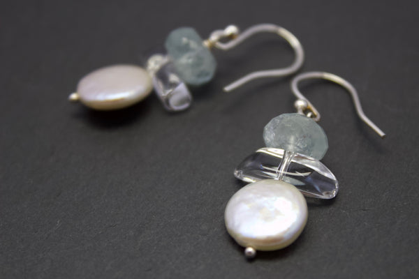 Earrings with aquamarines and pearls