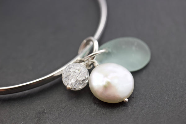 Bangle with sea glass and crackled rock crystal