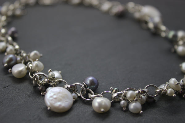 Necklace with coin freshwater pearls