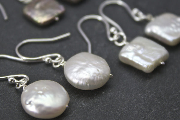 Earrings with drop square or coin freshwater pearls