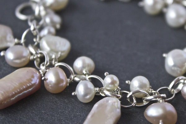 Bracelet with pink rectangular freshwater pearls