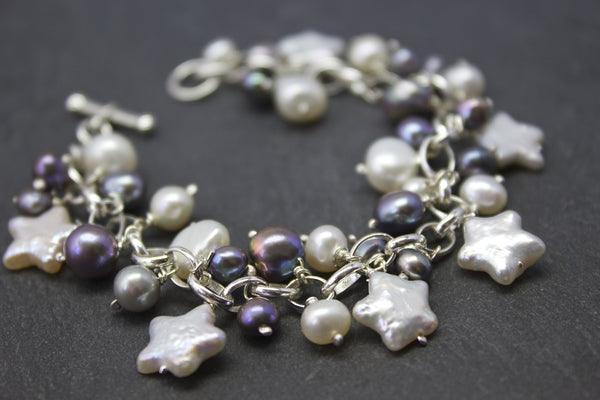 Bracelet with star freshwater pearls