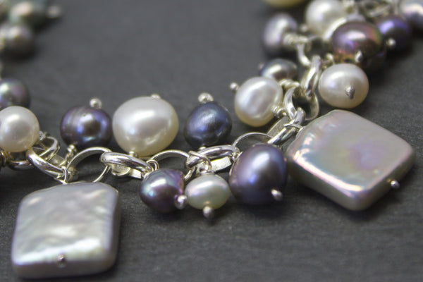 Bracelet with square freshwater pearls