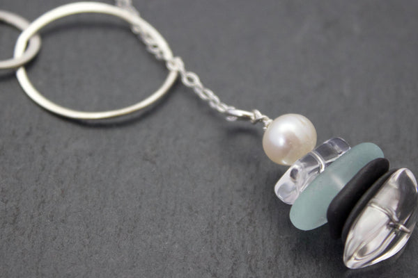 Necklace with sea glass and slate