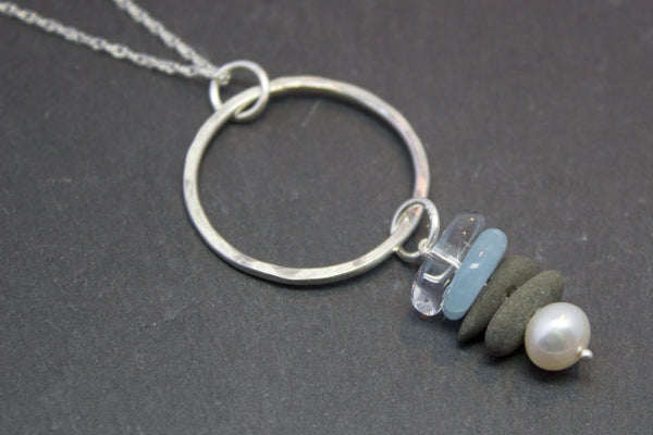 Pendant with slate and sea glass