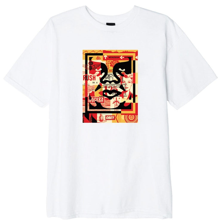 Obey 3 Face Collage Tee 'White'