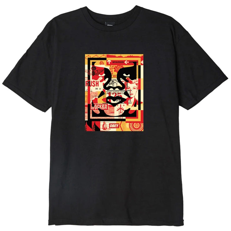 Obey 3 Face Collage Tee 'Black'