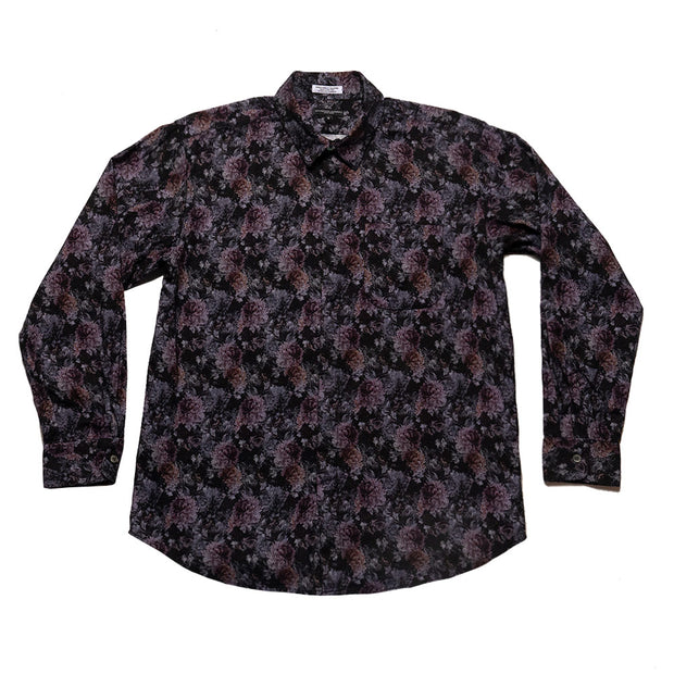 Short Collar Shirt 'Purple Cotton Flannel Floral Print'