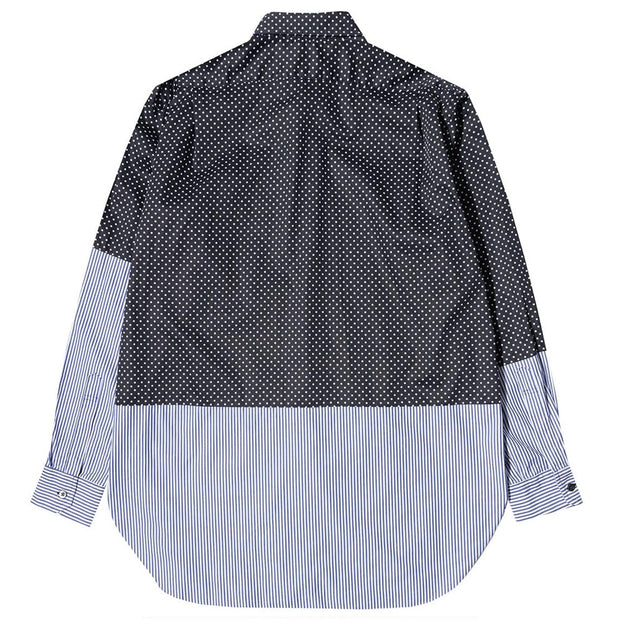 Spread Collar Shirt 'Navy Cotton Big Polka Dot Broadcloth'