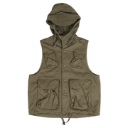 Field Vest 'Olive Cotton Herringbone'