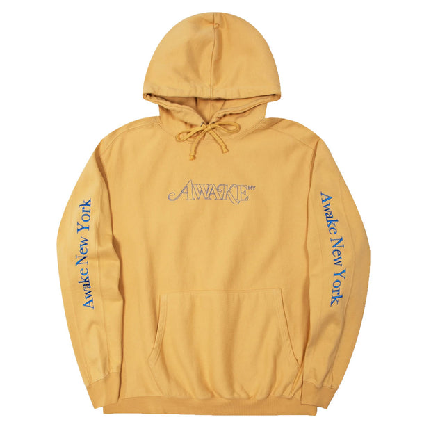 Classic Outline Logo Paneled Embroidered Hoodie 'Mustard'