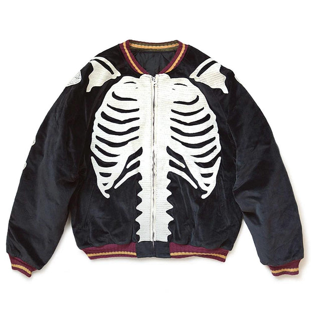 Velveteen BONE Embroidery Souvenir Jacket 'Black'