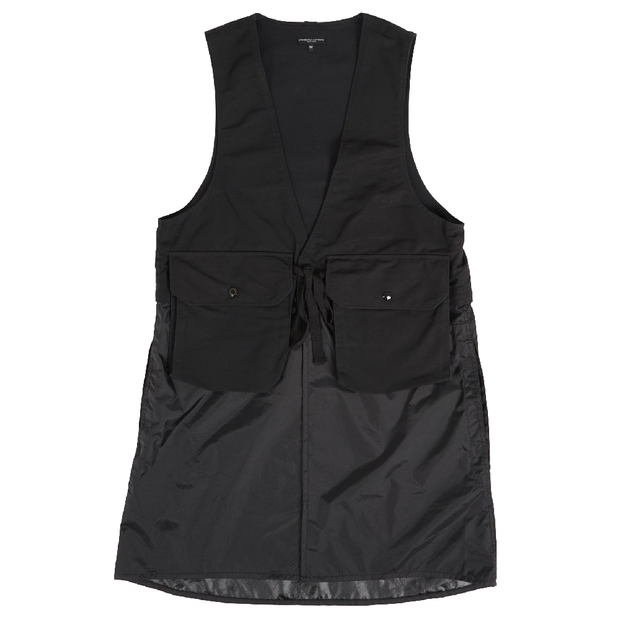 Long Fowl Vest 'Black Cotton Double Cloth'