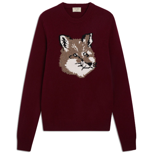 Fox Head Jacquard Pullover 'Burgundy'