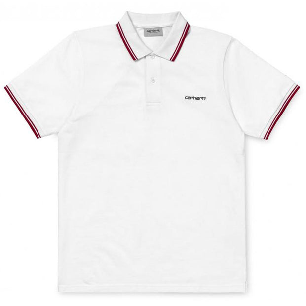 S/S Script Embroidery Polo 'White'