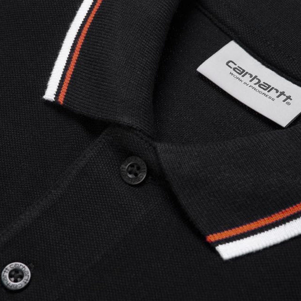 S/S Script Embroidery Polo 'Black'