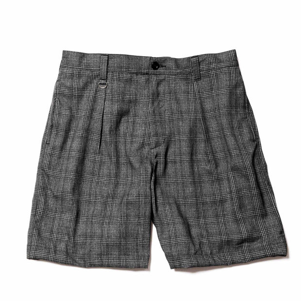 Glen Check 1Tuck Wide Shorts 'Charcoal Gray'