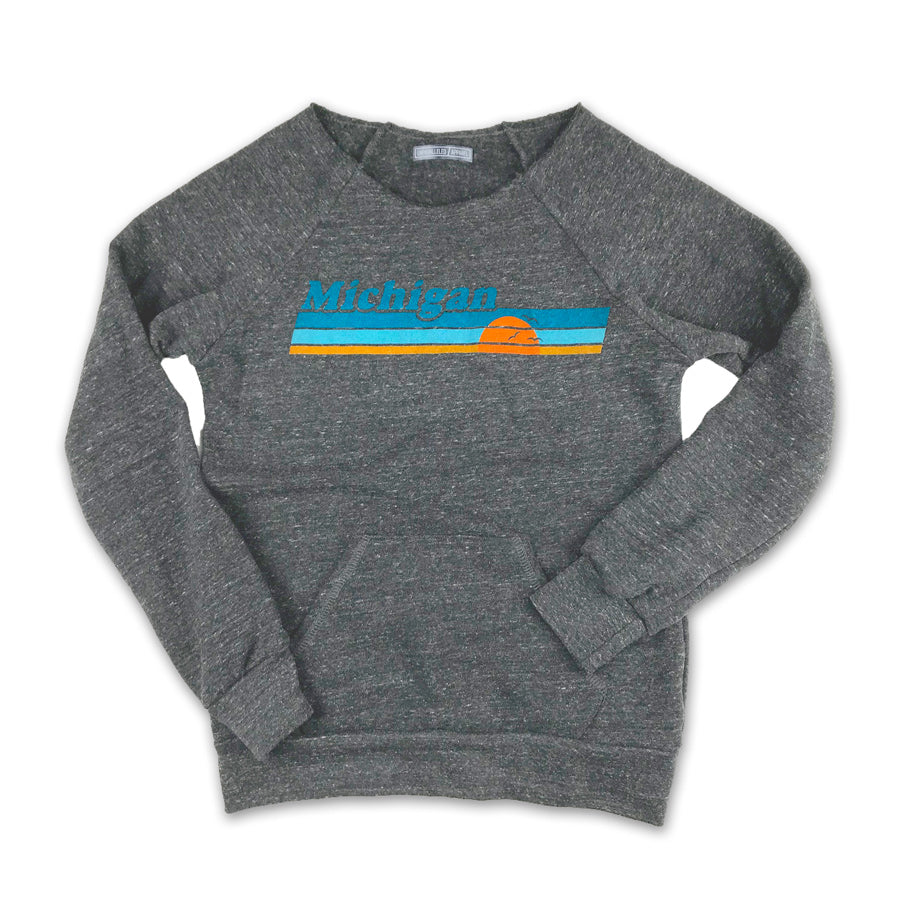 Ladies Michigan Vintage Sunset Raw Edge Sweatshirt - Unparalleled Apparel
