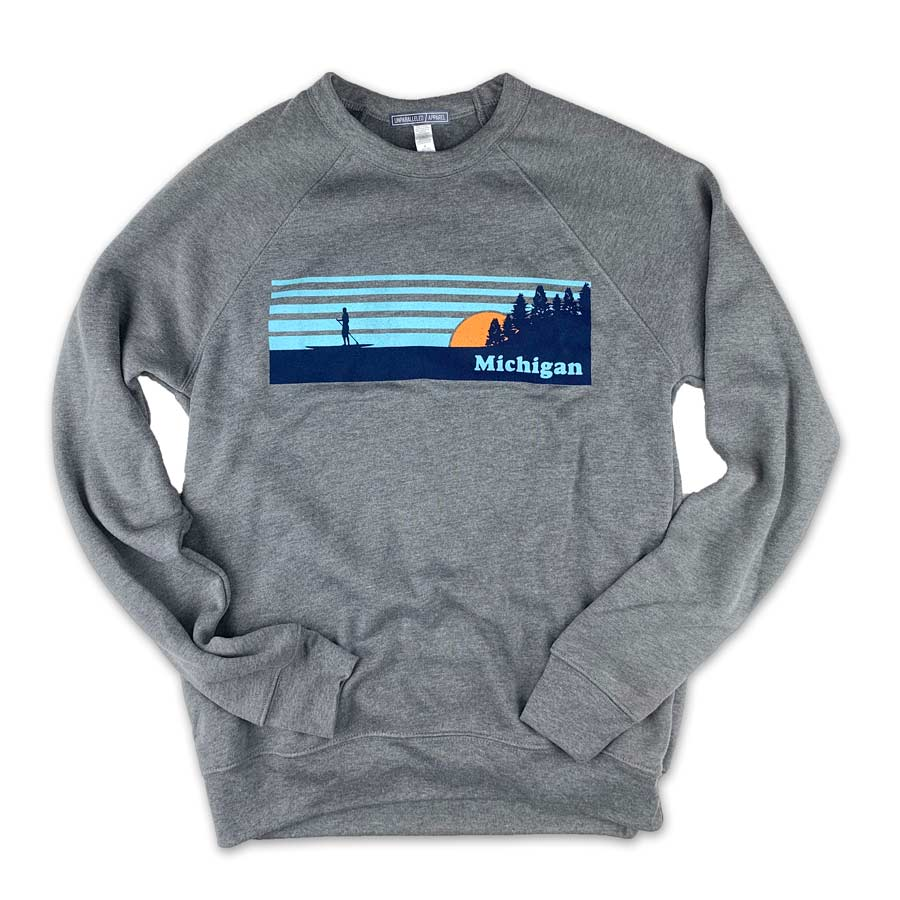 Michigan Vintage Paddleboarder Crewneck - Unparalleled Apparel