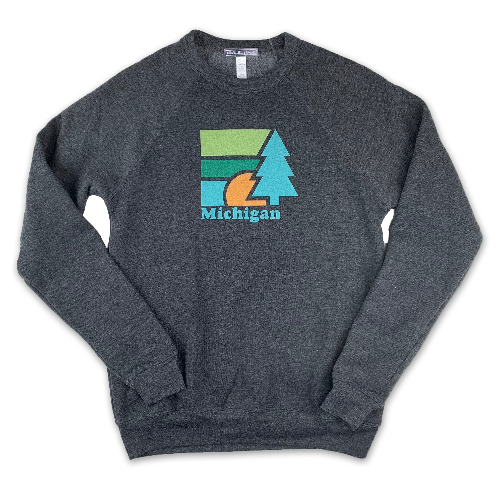 Michigan Retro Tree Crewneck Sweatshirt - Unparalleled Apparel