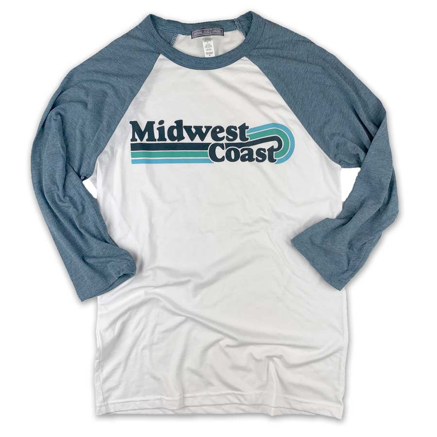Midwest Coast Vintage Wave Baseball Shirt - Unparalleled Apparel