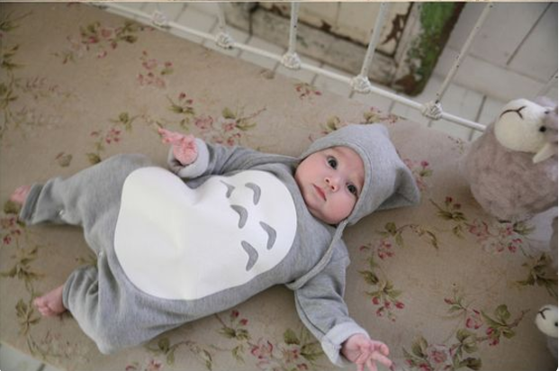 100% Cotton Totoro Baby Rompers with Hat