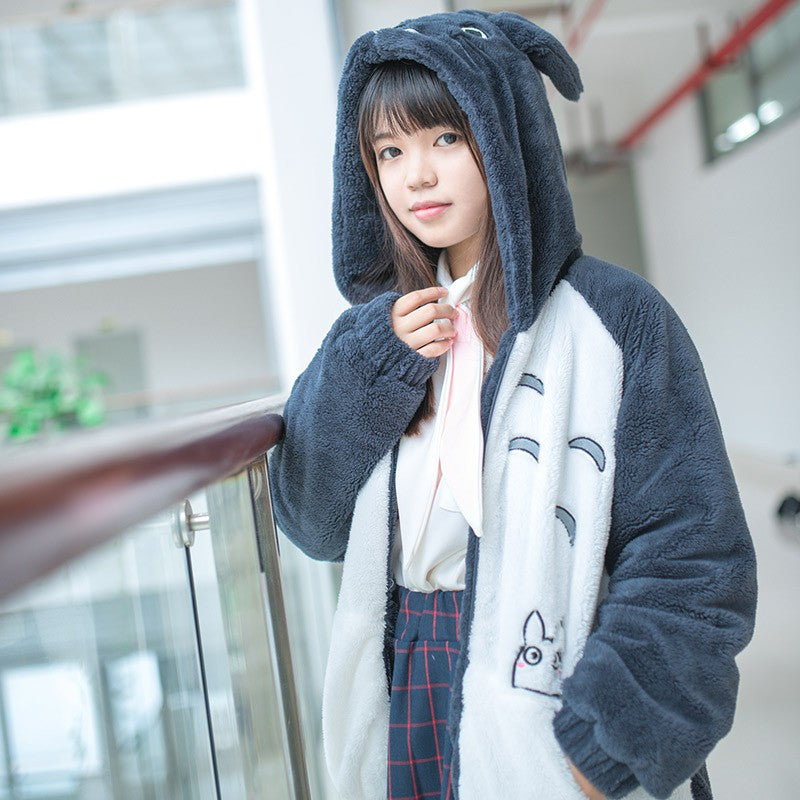 High Quality Cotton Totoro Hoodie Jacket with Cute Ear