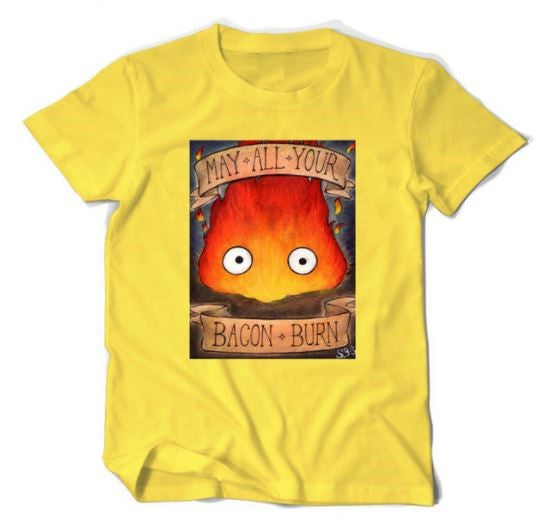 Calcifer Graphic Tee Shirt - May All Your Bacon Burn