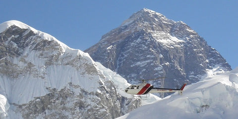 Helicopter in Front of Mount Everest