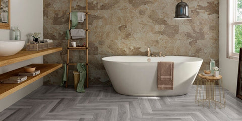 Stone Natural Porcelain Tiles in Beautiful Bathroom with Free Standing Bathtub