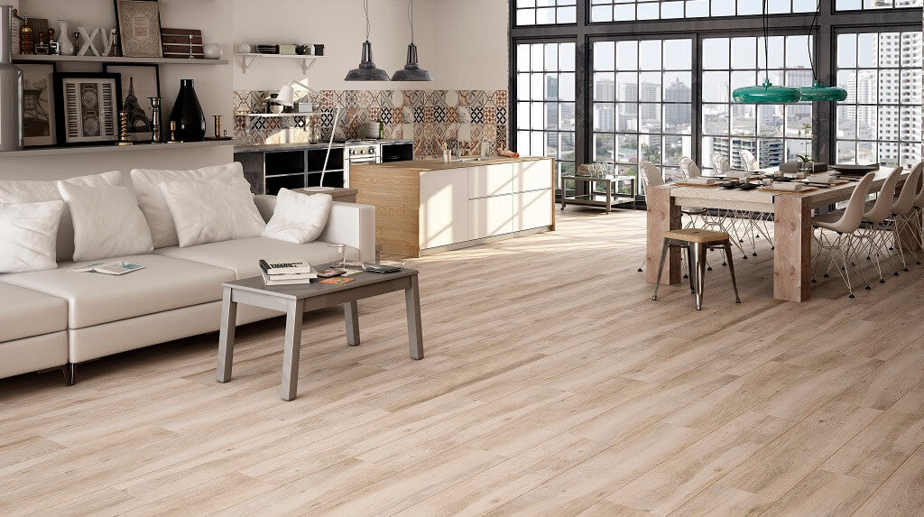 Ateler Taupe Wood Effect Floor Tiles in Stunning Loft Apartment with Magnificent View