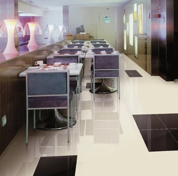 Black And Cream Porcelain Floor Tiles In Modern Restaurant