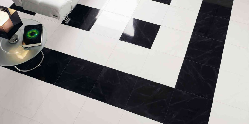 Marquinia Black Floor Tiles with White Tiles and Stylish Side Table