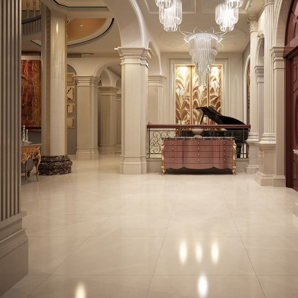Crema Marfil Marble Effect Floor Tiles with Grand Piano