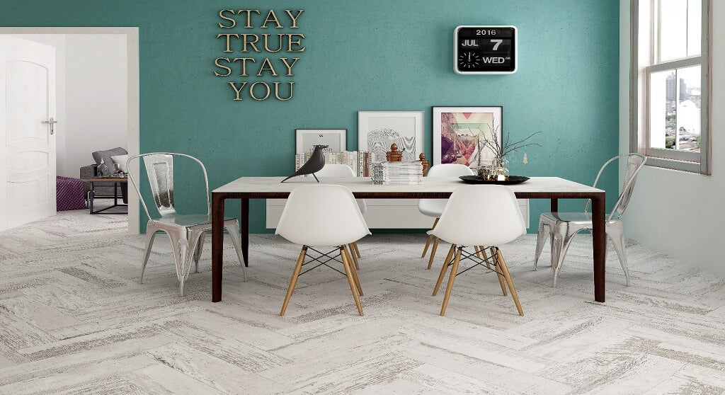 Distressed Grey Wood Effect Floor Tiles with Table and Chairs in Modern Home