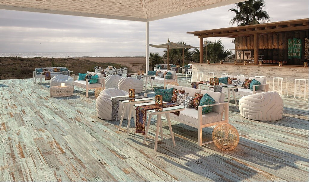 Distressed Wood Effect Porcelain Tiles at a Beach Side Cafe