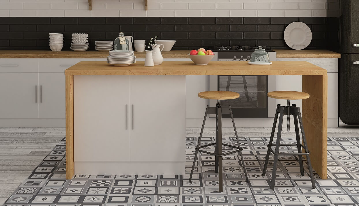 Encaustic Floor Tiles in Beautiful Kitchen